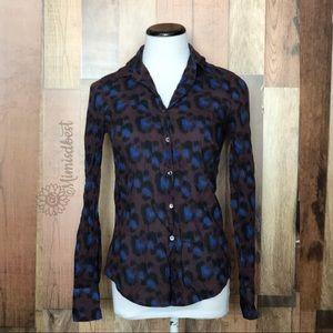 J.Crew perfect shirt in cobalt leopard sz 4